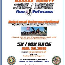 Nassau County 5k/10k Run for Veterans 2018 | Sat, Aug 25, 2018